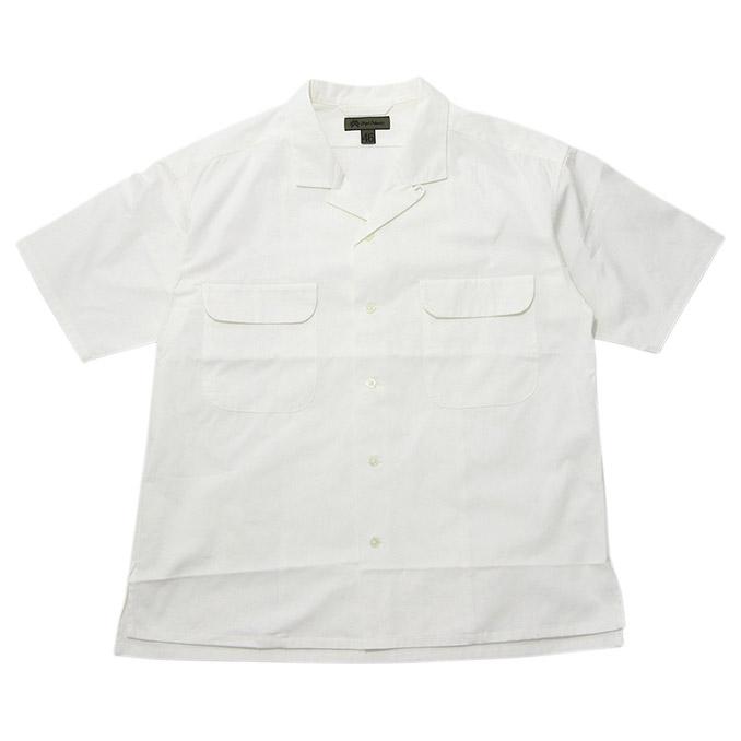 ナイジェルケーボン Nigel Cabourn Open Collared Wide Shirt S/S White 開襟ワイド半袖シャツ