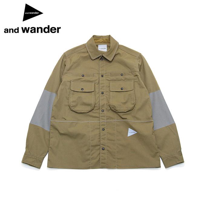 アンドワンダー ストレッチドビージャケットリフレクト and wander stretch dobby jacket reflect Beige