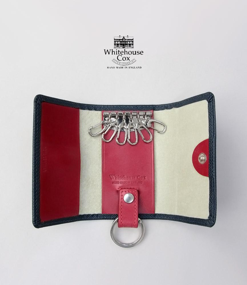 ホワイトハウスコックス キーケース ネイビー/レッド ロンドンカーフ キーケースウィズリング S9692 Whitehouse Cox LONDON CALF