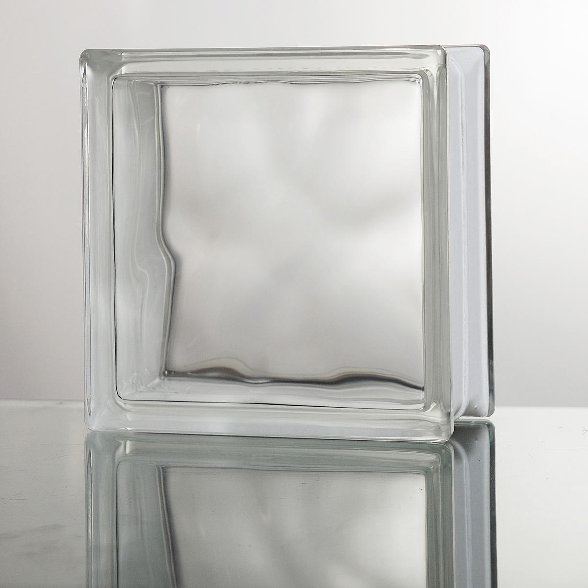 ガラスブロック 送料無料 6個セット 高品質 80mm厚 クリア色クラウディ