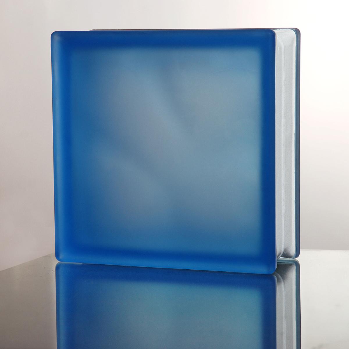 ガラスブロック 送料無料 6個セット 高品質 80mm厚 ミスティクラウディブルー