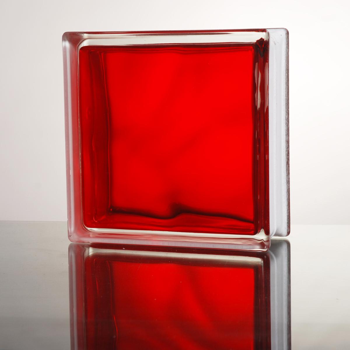ガラスブロック:期間限定セール ガラスブロック 送料無料 6個セット 高品質 80mm厚 インカラーレッド