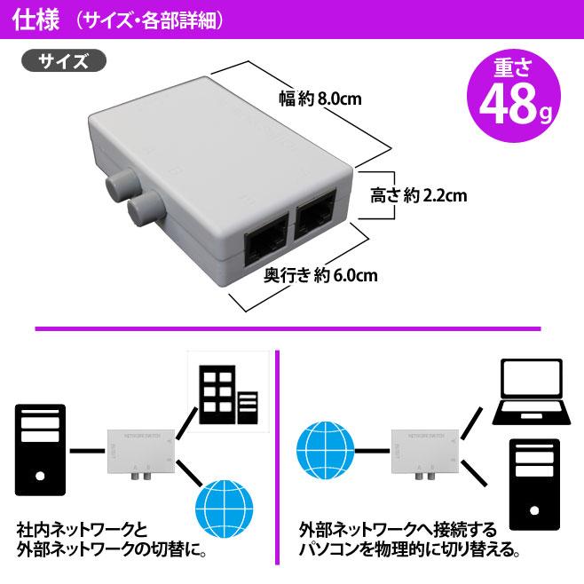 LAN 切替器 2→1 1→2 物理的 切り替え スイッチ付き 電源不要 100BASE-TX LAN切替 スイッチ ネットワーク コンパクト スイッチャー 全結線
