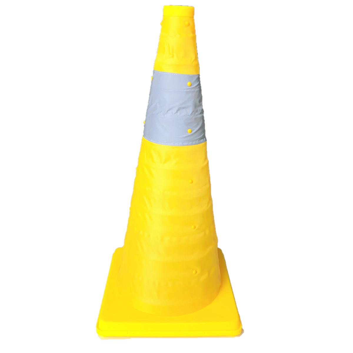 伸縮式カラーコーン【6個セット】 高さ62cm 折り畳み三角コーン イエロー 折りたたみ式三角コーン 折り畳みカラーコーン 送料無料