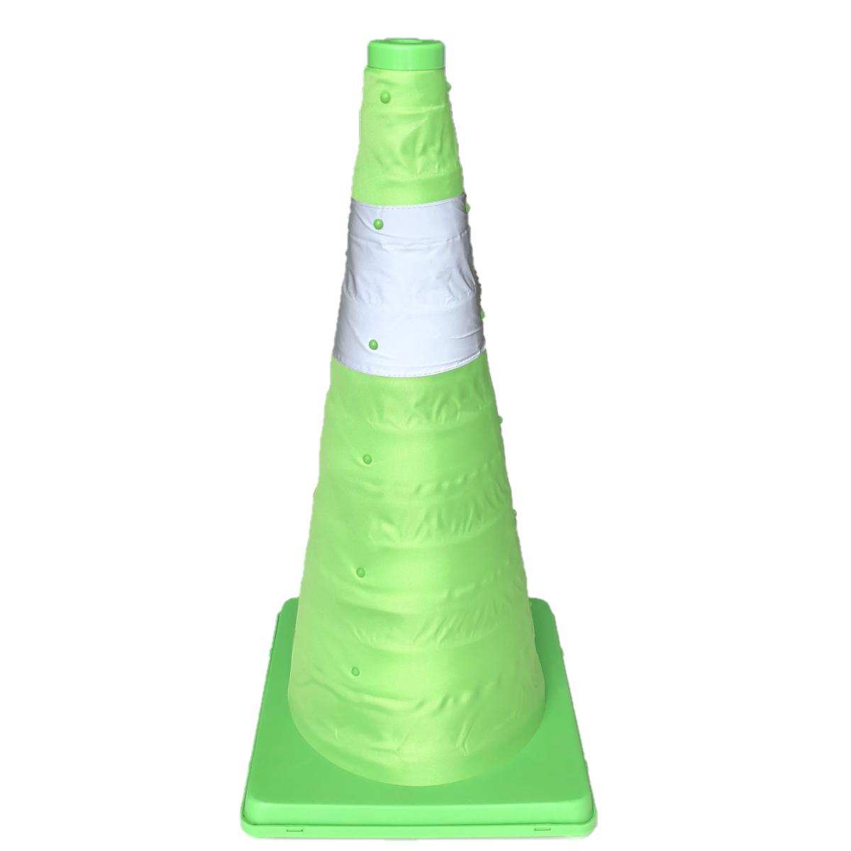 伸縮式カラーコーン【6個セット】 高さ62cm 折り畳み三角コーン グリーン 折りたたみ式三角コーン 伸縮カラーコーン 伸縮コーン 折り畳みカラーコーン 送料無料
