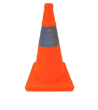 伸縮式カラーコーン【6個セット】 高さ62cm 折り畳み三角コーン オレンジ 折りたたみ式三角コーン 伸縮カラーコーン 伸縮コーン 折り畳みカラーコーン 送料無料