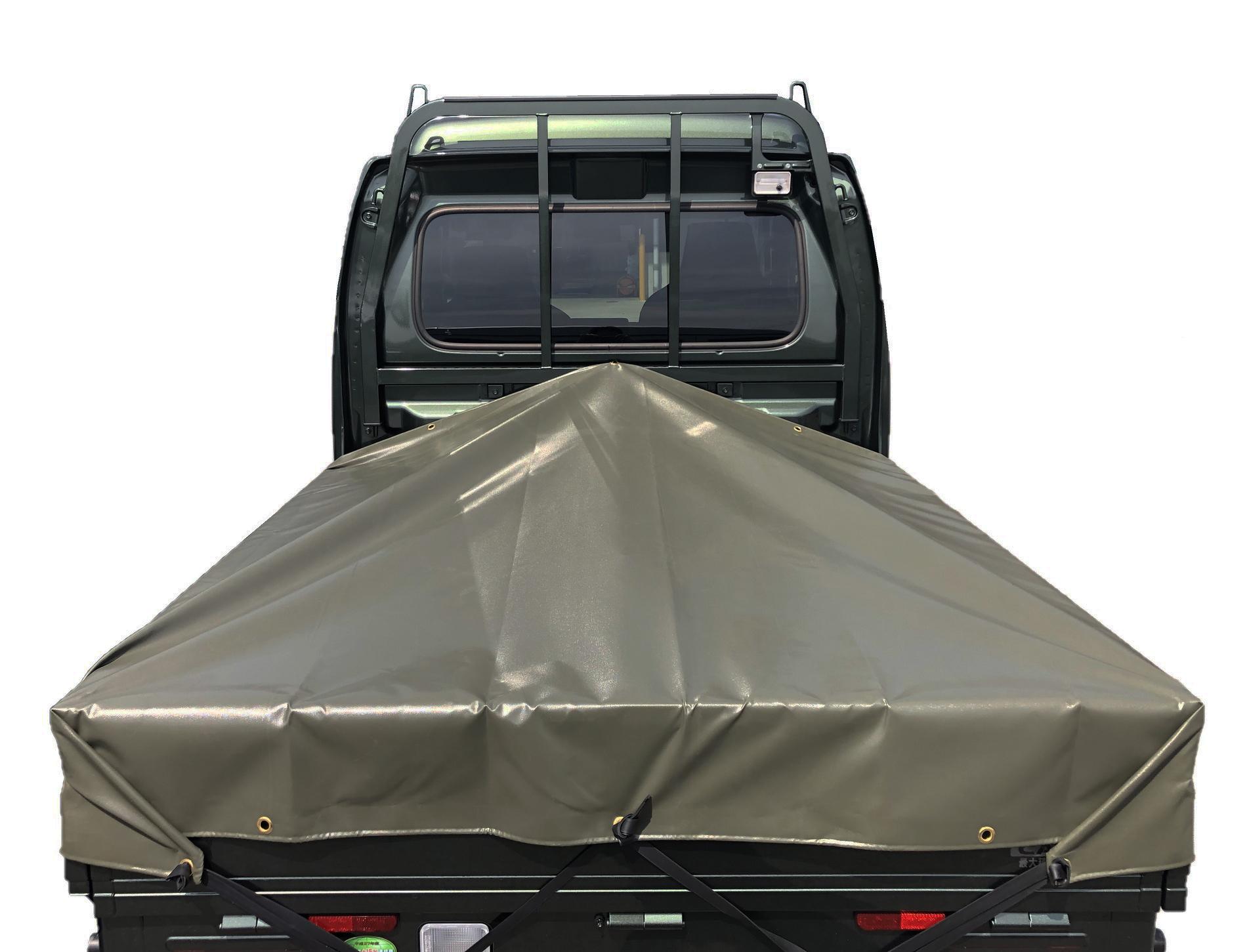 贈答 スーパーキャリイ専用トラックシート本州四国九州は送料無料 スーパーキャリイシート スロープ型 シート単品 OD 国防色 前部 いよいよ人気ブランド 台形シート 1.7m 2.0m 長さ 1.9m× 後部