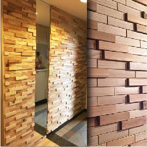 有吉ゼミ等 テレビでも紹介 ウッドタイル 天然木 DIY 室内壁材 セール特価品 ウッドパネル 立体デザイン レンガ調 セット 1平米 国産杉使用 品質保証 100枚入