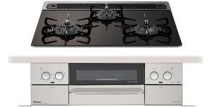 パロマ|ビルトインコンロ|フェイシスシリーズ|ガラストップ|無水両面焼グリル|3V乾電池電源|トップカラー:ノーブルグレー|PD-810WV-60GN|天板幅60cm