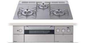 パロマ|ビルトインコンロ|クレアシリーズ|ガラストップ|無水両面焼グリル|3V乾電池電源|トップカラー:クリアライトグレー|PD-900WV-60GV|天板幅60cm