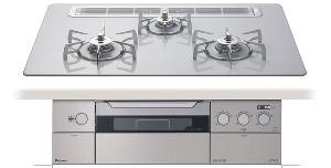 【パロマ】【PD-900WV-75CV】ビルトインコンロ|クレアシリーズ|ハイパーガラスコートトップ|無水両面焼グリル|3V乾電池電源|トップカラー:ティアラシルバー|天板幅75cm