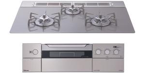 【パロマ】【PD-900WV-75GV】ビルトインコンロ|クレアシリーズ|ガラストップ|無水両面焼グリル|3V乾電池電源|トップカラー:クリアライトグレー|天板幅75cm