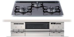 【パロマ】【PD-AF61WV-60CD】ビルトインコンロ|ブリリオシリーズ|ハイパーガラスコートトップ|無水両面焼グリル|3V乾電池電源|トップカラー:クリアパールダークグレー|天板幅60cm