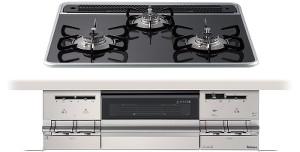 【パロマ】【PD-AF61WV-60CK】ビルトインコンロ|ブリリオシリーズ|ハイパーガラスコートトップ|無水両面焼グリル|3V乾電池電源|トップカラー:クリアパールブラック|天板幅60cm