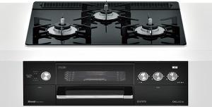 リンナイ|ビルトインコンロ|デリシアシリーズ|セランガラストップ|無水両面焼グリル|3V乾電池電源|トップカラー:ナイトブラック|RHS31W22E1RC-BW|天板幅60cm