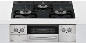 リンナイ|ビルトインコンロ|リッセシリーズ|セランガラストップ|無水両面焼グリル|3V乾電池電源|トップカラー:ナイトブラック|RHS31W23L1RSTW|天板幅60cm