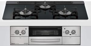 リンナイ|ビルトインコンロ|リッセシリーズ|セランガラストップ|無水両面焼グリル|3V乾電池電源|トップカラー:ナイトブラック|RHS71W23L1RSTW|天板幅75cm