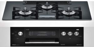 リンナイ ビルトインコンロ デリシアシリーズ セランガラストップ 無水両面焼グリル AC100V電源 トップカラー:クリスタルブラック RHS72W22E5VC-BW 天板幅75cm