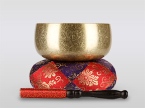 瑞竜りんバレル金メッキ 3.2寸(直径約9.6cm)おりん・おりん座布団・りん棒セット