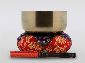 勘三郎りん 4.5寸(直径約13.5cm)おりん・おりん座布団・りん棒セット