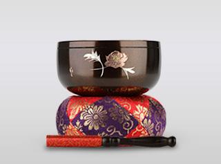 乗光りん 牡丹 3.0寸(直径約9cm)おりん・おりん座布団・りん棒セット
