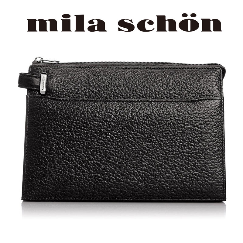 ミラショーン mila schon 3角マチ セカンドバッグ27cm 1ルーム Nero ネロ 197201