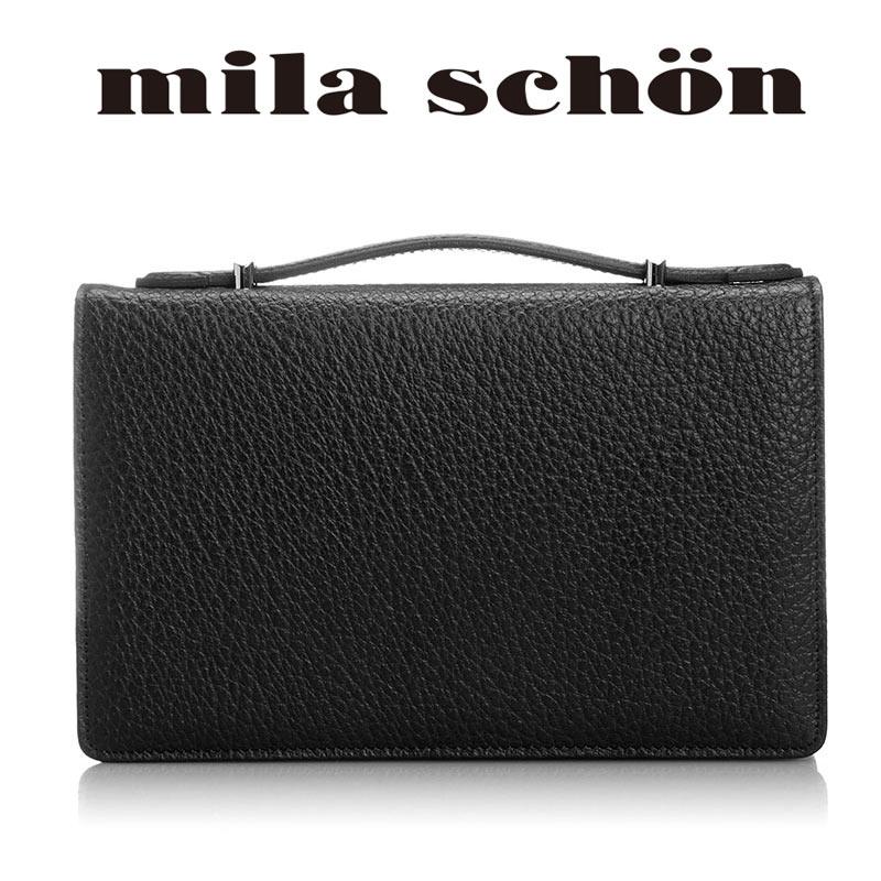 ミラショーン mila schon イカ手ハンドル ボックス型 セカンドバッグ25cm 1ルーム Nero ネロ 197206
