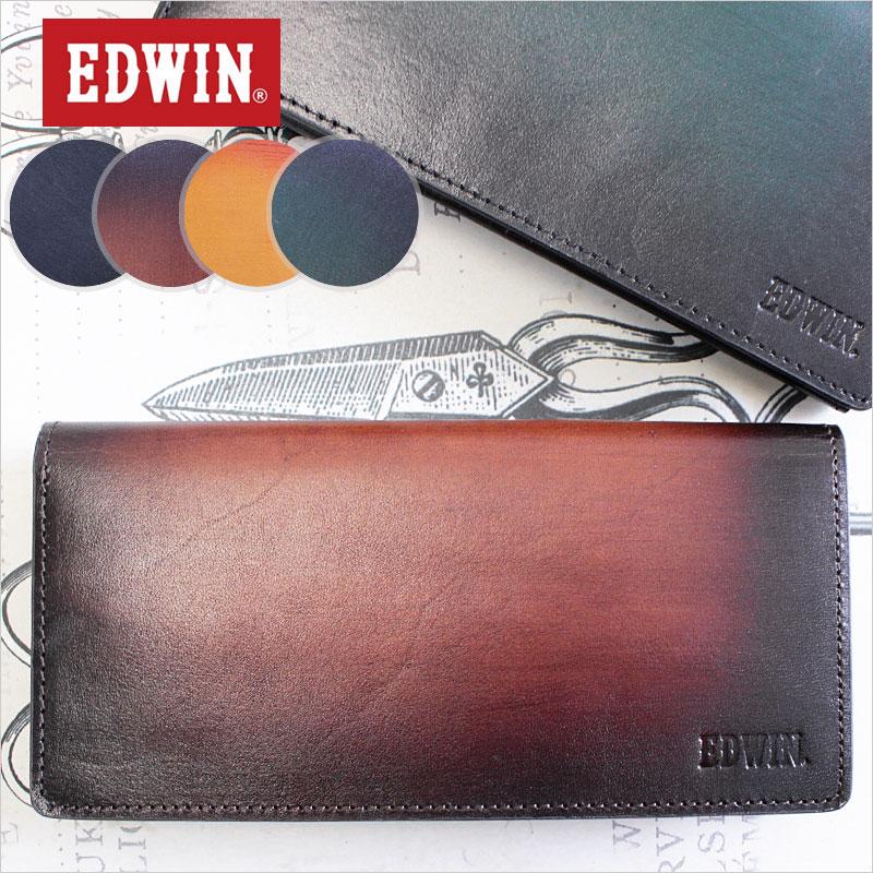 【在庫限り】エドウィン EDWIN 長財布 財布 イタリアンレザーシャドー 0510491【メール便配送商品】