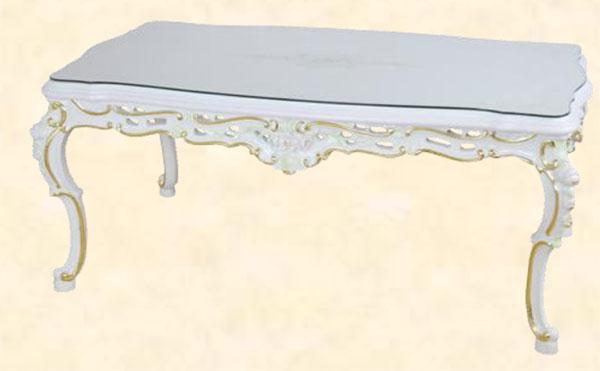 ダイニングテーブル センターテーブル 幅120cm 北欧 ホワイト MDF クラシック アンティーク エレガント ロマンチック 姫系 送料無料