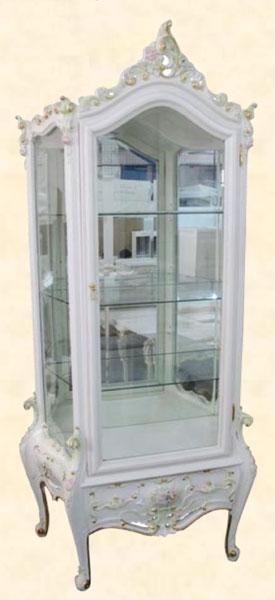 コレクションケース キュリオケース アンティーク 飾り棚 ホワイト MDF クラシック コレクションボード ディスプレイラック 送料無料