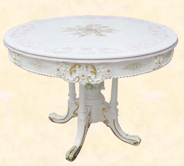 ダイニングテーブル ダイニングテーブルセット センターテーブル 丸 円形 丸型 幅110cm 丸テーブル 北欧 ホワイト MDF 花柄 フレンチ クラシック アンティーク エレガント ロマンチック 姫系 送料無料