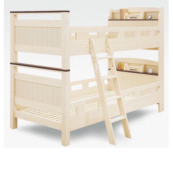 二段 ベッド 2段ベッド 2段ベット スノコ 木製 二段ベッド パイン ナチュラル 固定式 ファミリータイプ 大川家具 子供部屋 コンセント付 シンプル モダン 北欧 ベーシック デザイン
