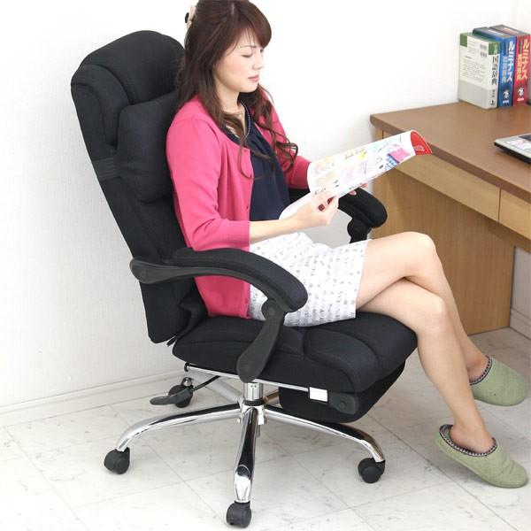 リクライニング オフィスチェア メッシュ ハイバック 収納式フットレスト 昇降 オットマン 肘付き キャスター付き オフィス ブラック パソコンチェア デスクチェア