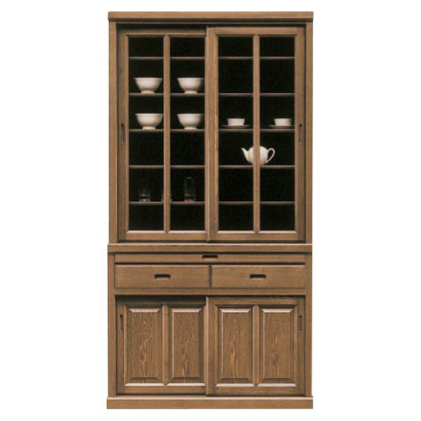食器棚 完成品 キッチンボード 幅100cm 高さ195cm キッチン収納 スライド扉 引き戸タイプ 引出付き 開梱設置配達 木製