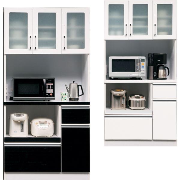 食器棚 キッチン収納家具 開き戸タイプ カウンター 木製 90 コンセント付き 開梱設置 選べる ホワイト ブラウン おしゃれ お洒落 ベーシック 完成品