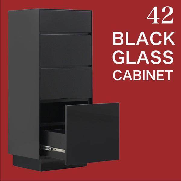 リビングボード キャビネット サイドボード 完成品 42cm 北欧 モダン シンプル ベーシック リビング収納 スライドレール 強化ガラス ブラックガラス 光沢