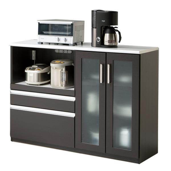 キッチン収納家具 カウンター 木製 130 キッチンカウンター コンセント付き
