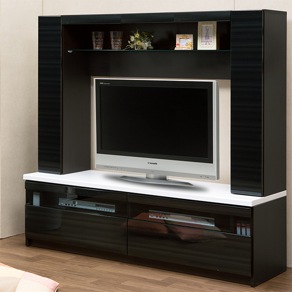 壁面テレビ台 幅155cm 高さ150cm ハイタイプ テレビ台 テレビボード 開梱設置 ハイグロス 壁面収納 引出 フルオープンレール 北欧 モダン シンプル 大型