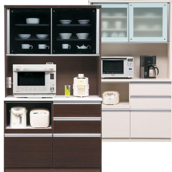 食器棚 引き戸タイプ キッチン収納家具 カウンター 木製 120 コンセント付き 選べる ホワイト ブラウン おしゃれ お洒落 ベーシック 完成品