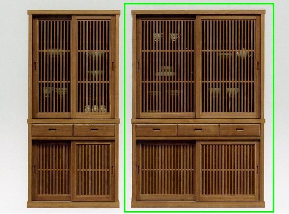 【 開梱設置無料 】食器棚 キッチン収納 和風 モダン タモ 木製 有明130食器棚 ライトブラウン
