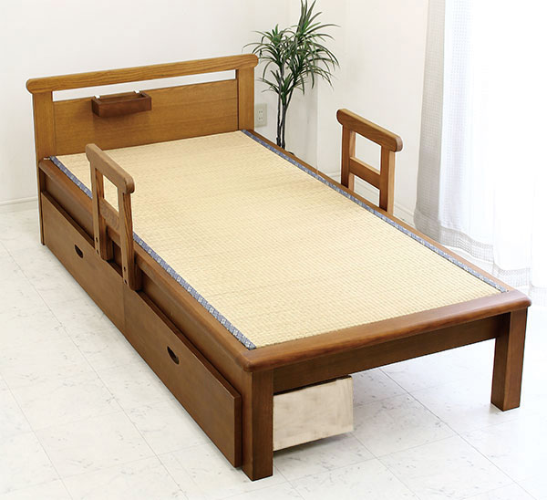有榻榻米床单人床架子木制tatamibeddo收藏抽屉的扶手的