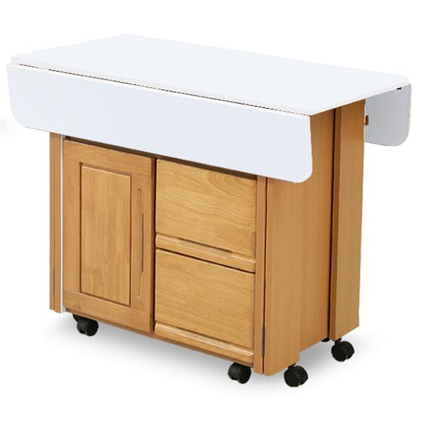 両バタテーブル 両端カウンター 折り畳み 折りたたみ 食卓カウンター 幅90cm 高さ72cm テーブルカウンター 完成品 キャスター付き パイン無垢材 人気 おしゃれ ホワイトエナメル塗装仕上げ 北欧 モダン シンプル 大川家具