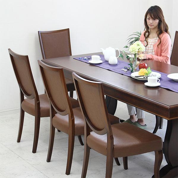 ダイニングセット ダイニング 9点セット【送料無料】8人用 木製 ダイニングテーブルセット 幅210cm 北欧 アンティーク 食卓セット 食卓テーブル