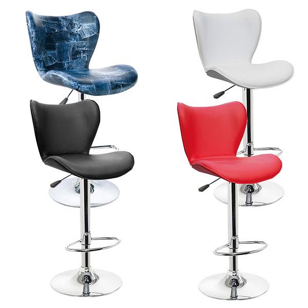バーチェア バーカウンター カウンターチェア チェアー 椅子 カウンター ALL PU シンプル モダン 1脚 ベーシック 北欧 スタイリッシュ ハイチェア スツール ブラック ホワイト レッド デニム 4色