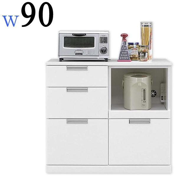 キッチンカウンター レンジボード レンジ台 幅90cm 完成品 作業台 木製 鏡面ホワイト 白 光沢 艶あり 家電収納 スライド棚 スライドカウンター コンセント付き キッチン収納 モダン シンプル