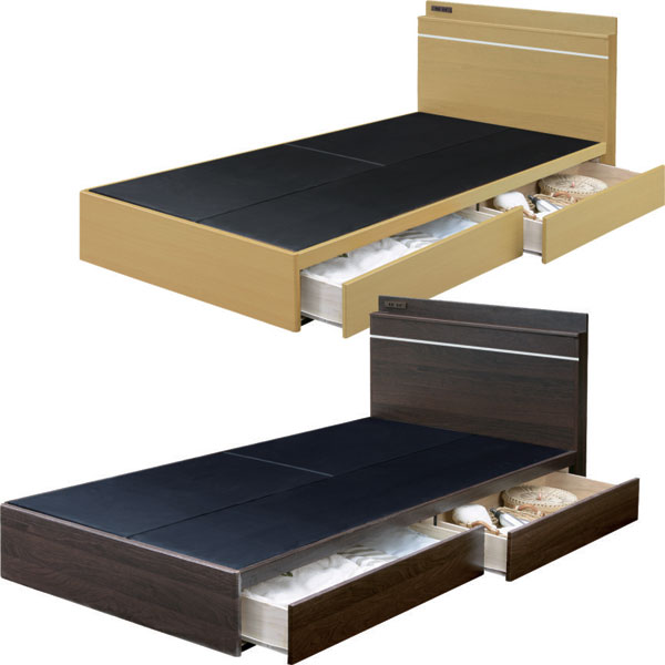 ベッド フレームのみ シングルベッド 収納付 引き出し付 シンプル モダン 北欧 ベーシック 選べる2色 ブラウン ナチュラル 宮付き コンセント 床板布張り スライドレール ワンルーム 一人暮らし 新生活 1K