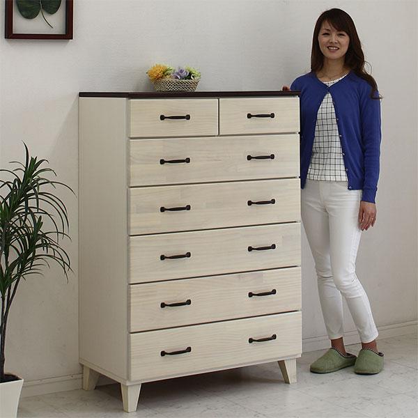 チェスト ハイチェスト 収納たんす 整理ダンス 完成品 木製 80cm ホワイト 白 北欧 天然木 日本製 大川家具 人気