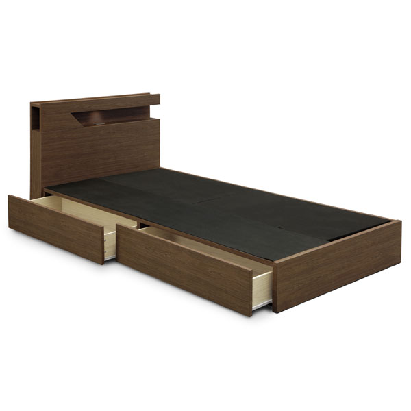 シングルベッド 引き出し収納付きベッド コンセント付き 照明付き ベッドフレーム 北欧モダン