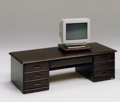 (和風 アジアン 和モダン レトロ)文机/デスク/パソコンデスク/座机 木製 チクマ 130両袖デスク ブラウン/ライトブラウン
