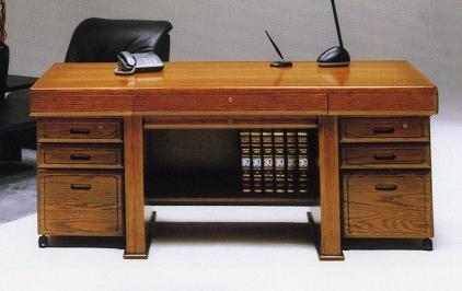 学習机/デスク/パソコンデスク 木製 帝王 176ワゴン付きデスク ライトブラウン/ウォールナット